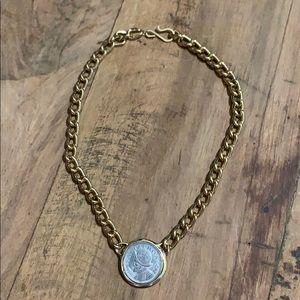Vintage Goldtone Balboa Faux Spanish Coin Necklace
